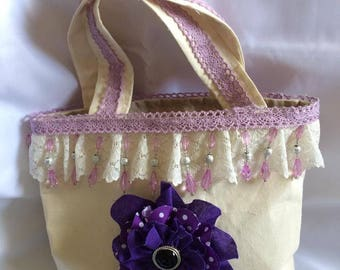 Crean and Purple Shabby Chic Tote Bag,