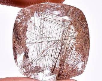 Mesmerizing top quality Golden Rutile Quartz 52.45cts cushion Shape,Faceted cut,size-23x23x14mm,Semi Precious gemstone,Loose gemstone 4624