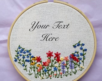 Custom Text Wild Flower Embroidery