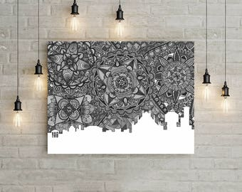 Milan, Poster, Skyline, Italy, Art, Black and White, Print, Digital Illustration, Home Decore, Doodle, Zentangle, Gift, Drawing, Duomo