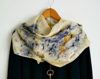 Ecoprint silk scarf.