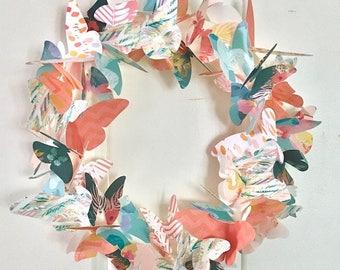 butterfly wreath / spring wreath / paper wreath