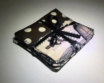Coffee Coasters | Coffee Tea | Square Coasters | Set of Four Coasters | Reversible Fabric Coasters