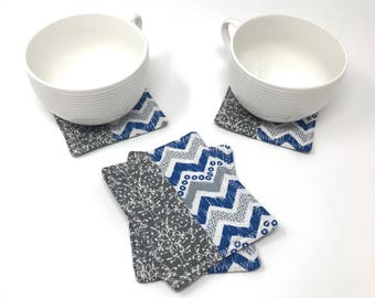 Blue Zig Zag Fabric Coasters | Coaster Set | New Home Gift | New Job Gift