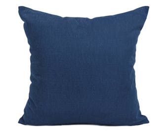 Kdays Washed Cotton Canvas Navy Pillow Cover Decorative For Couch Throw Pillow Case Handmade Cushion Covers Solid Color Cotton Pillows