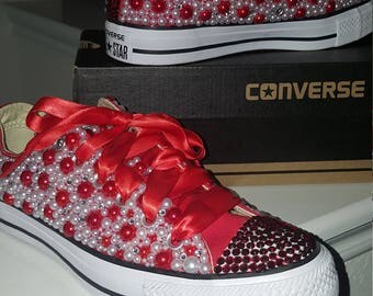 Red/White Candy Converse Bling Sneakers
