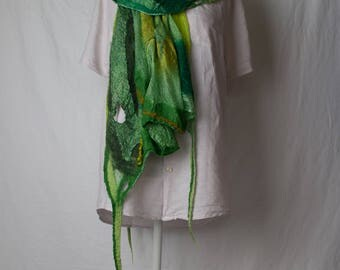 Green Nuno felted scarf, with silk and merino wool