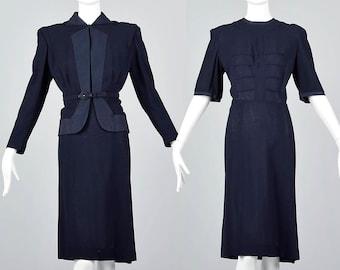 XL 1940s Dress with Jacket Set Navy Blue Wool Crepe WWII 40s Dress Vintage Plus Size Dress Matching Jacket