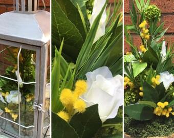 Artificial Flower Lantern, Lisianthus, Mimosa, Bamboo Bush, Outdoor or Indoor, Silk Flowers