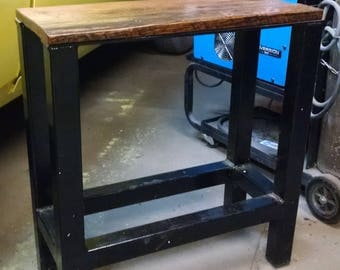 Industrial Bench Small Table Welded with Reclaimed Wood Modern