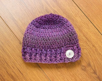 Crochet Baby Hat, Baby Hat, Crochet Hat, Baby Girl Hat, Girl Hat, Girl Crochet Hat, Purple Baby Hat