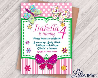 Butterfly Invitation, Butterflys Birthday Invitation, Butterflys Invite, Any Age Birthday Party, Digital file 15
