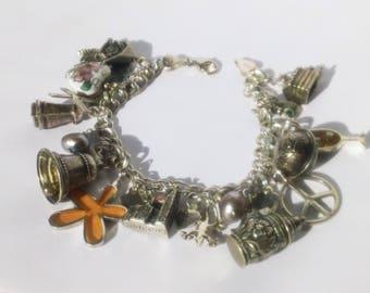 "Vintage Sterling Silver 20 European Charms Pearls Heart charm bracelet - 6.5"""