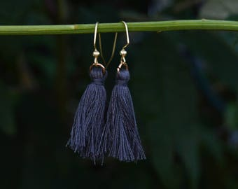 Handmade Dark Gray Tassel Earrings