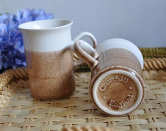 Stunning mid century modern Churchill England pair of mugs - retro style, dipped pattern