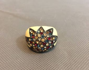 "Vintage Retro Ring Multicolored Rhinestones  3/4"" diameter opening"