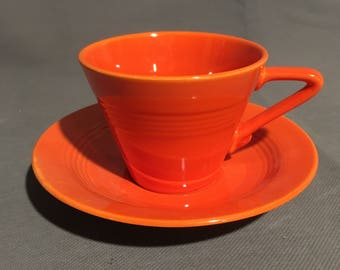 Vintage Orange Ceramic Tea Cup Coffee Cup with Saucer
