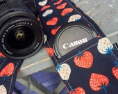 Camera Strap Cover with Lens Pocket Ready to Ship Canon Nikon DSLR Photographer Photography #117 Strawberry Strawberries Navy Red White Blue
