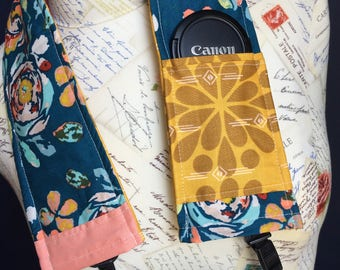 Camera Strap Cover with Lens Pocket Ready to Ship Canon Nikon DSLR Photographer Photography #302 Flowers Floral Teal Gold