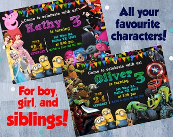 Custom Themes Birthday Invitation for Boy, Girl or Siblings, All Favourite Characters of Your Child, Double Twins Invite, Personalized JPEG