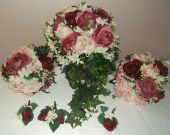 Pre Made Burgundy/Pink Cascading Wedding Bouquets