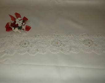White Rhinestone/Pearl Beaded Alencon Lace