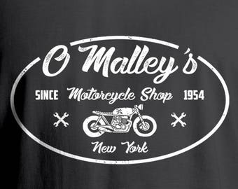 O'Malley's Cafe Racer Vintage Motorcycle Shop T-Shirt, Vintage Motorcycle T-Shirt, Men's T-Shirt, Women's T-Shirt, Motorcycle T-Shirt,