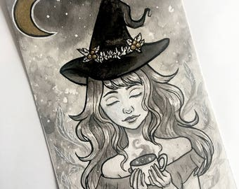 Tea Witch Mini Ink Painting, pop surrealism, fantasy art