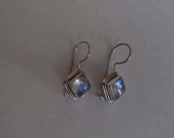 silver earring with moonstone