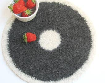 Wool felted placemat / Organic eco-friendly / Cream and dark gray / grandma gift / home decor / gift for her / Christmas gift