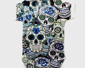Sugar skull design baby onesie Halloween Blue
