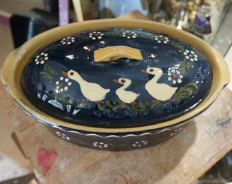 Terracotta Terrine oval of SOUFFLENHEIM signed ducks decor