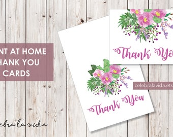 Thank You Card. Instant Download. Printable Thank You Card. Pink and Purple Flowers. - 03
