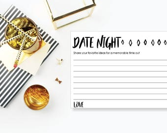 Date Night Ideas. Instant Download. Printable Card. Neutral. - 04