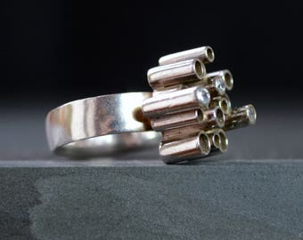 Silver & Diamond Ring - Giants Causeway - Sterling Silver - Handmade Ring