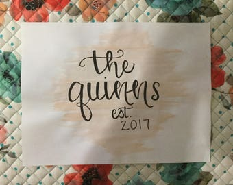Hand Painted Watercolor Last Name Painting