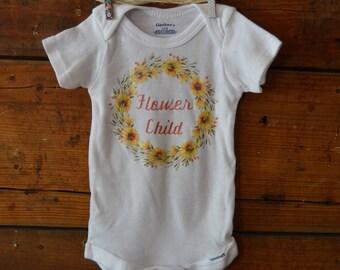 Flower Child hippy baby onesie