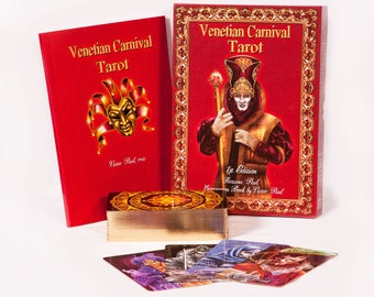 Venetian Carnival Tarot Cards Deck: Kit, boxed with 78 cards and book, luxury limited edition, created by Roxana Paul
