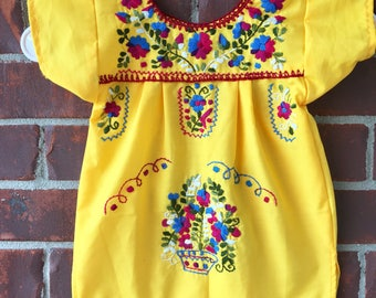 Baby girl yellow embroidered little dress. 6-12 months