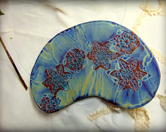 Starry blue, moon shaped fruit plate or wall decoration.