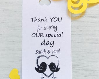 personalised wedding thank you tags (two bird heart)