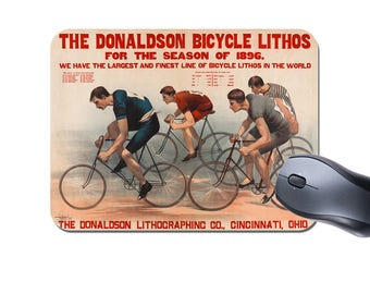 Vintage Bike Race Mouse Mat. Donaldson lithos Cycling Poster High Quality Computer Mouse Pad. Classic Bicycle Gift