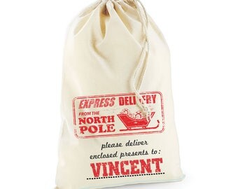 North Pole Post Office Christmas Day Personalised Custom Delivery Sack Kids Boys Girls 06