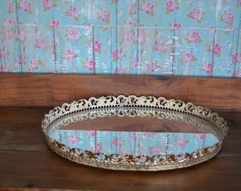 Vintage Oval Mirror Tray * Large * Gold * Dresser * Vanity *