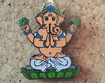 Orange Meditating Ganesh Hat Pin