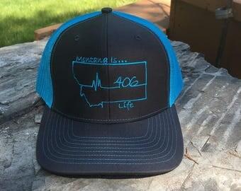 Montana is Life Baseball Hat - Slate Grey/Neon Blue