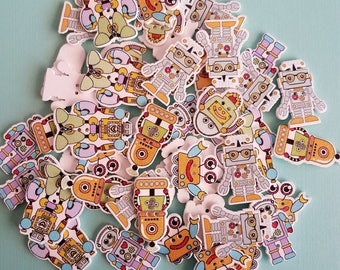 Set of 20 colorful Robots wooden buttons, Boys Toys, Sewing, Embellishment, Wood Robot, Scrapbooking buttons