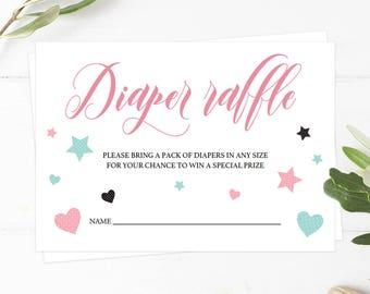 Diaper Raffle Ticket Girl, Printable Raffle Tickets, Baby Shower Raffle Ticket, Diaper Game Shower, Print Your Own, Invitation Inserts PH1