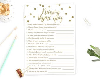 Gold Confetti Baby Shower Games Nursery Rhyme Quiz Gold Baby Shower Nursery Rhyme Game Baby Shower Games Gold Glitter Baby Games Shower GCO