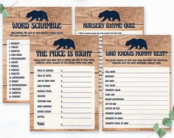 Wood Baby Shower Games Printable, Baby Bear Baby Shower Theme, Rustic Baby Shower Decorations Set, Game Package Baby Shower Woodland, BBL